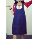 Blue Button Double Pocket Denim Overall Dress