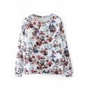Pretty Floral Print Round Neck Long Sleeve Sweatshirt