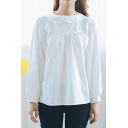 Plain White Collar Long Sleeve Button Back Shirt