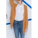 V-Neck Plain Cable Long Sleeve Open Front Cardigan