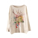 Colorful Deer Scoop Neck Long Sleeve Sweater