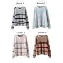 Stripe High Low Batwing Sleeve Round Neck Sweater