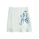 Plain Beaded Zip Back A-Line Mini Skirt