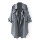 Plain Asymmetric Lapel Open Front Long Sleeve Coat