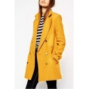 Plain Lapel Tweed Long Sleeve Single-Breasted Overcoat