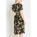 Floral Print Short Sleeve Round Neck Midi A-Line Dress with Belt