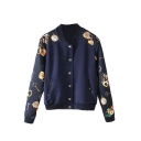 Color Block Key Print Single-Breasted Stand Collar Bomber Jacket