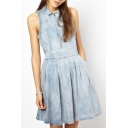 Plain Lapel Zip Front Sleeveless Pleated Denim Dress