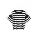 Ruffle Sleeve Round Neck Stripe Knit Sweater