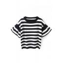 Ruffle Sleeve Round Neck Stripe Knit Sweater