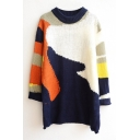 Color Block Round Neck Long Sleeve Knit Tunic Sweater
