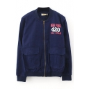 Letter Print Stand Collar Double Pocket Bomber Jacket