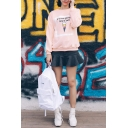 Ice-Cream Letter Print Round Neck Long Sleeve Sweatshirt