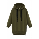 Letter Print Hooded Drawstring Long Sleeve Zipper Side Sweatshirt