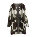 Camouflage Print Long Sleeve Round Neck Open Front Double Pocket Longline Cardigan
