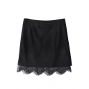 Black Zip Back Lace Hem Suede A-Line Skirt