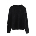 Plain Hollow Round Neck Long Sleeve Sweater