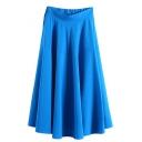 Plain Elastic Waist Maxi Flared Skirt