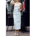 Plain Zip Back Slit Back Denim Maxi Pencil Skirt