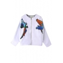 Bird Embroidery Round Neck Batwing Sleeve Zip Coat
