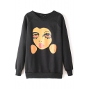 Girl Face Print Round Neck Long Sleeve Sweatshirt