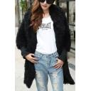 Plain Woolen Open Front Hooded Long Sleeve Coat