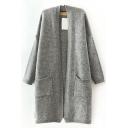 Gray Open Front Batwing Sleeve Double Pocket Split Hem Tunic Cardigan