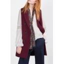 Plain Tweed Lapel Double Breasted Sleeveless Longline Vest