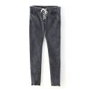 Black Drawstring Waist Raw Waist Jeans