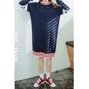 Round Neck Long Sleeve Stripe Sweater Dress