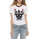 Cartoon Robot Round Neck Short Sleeve Tee