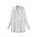 Lapel Plain High Low Double Pocket Single Breasted Long Sleeve Shirt
