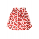 White Background Red Hearts Print Elastic Waist Flared Skirt