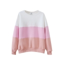 Color Block Print Round Neck Long Sleeve Sweatshirt
