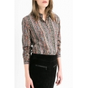 Tribal Print Lapel Long Sleeve Shirt