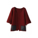 Color Block PU Pocket Round Neck Half Sleeve Open Front Cardigan