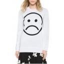 Expression Face Pattern Long Sleeve Round Neck Sweater