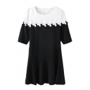 Color Block Round Neck Zip Back Short Sleeve Crochet Smock Dress