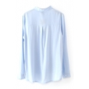 Light Blue Stand Collar Single Breasted Long Sleeve Shirt