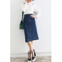 Plain Elastic Waist Slit Back Denim Midi A-Line Skirt