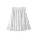 Plain Elastic Waist Lace Cutout Mini Flared Skirt