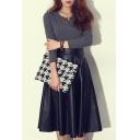 PU Plain Elastic Waist Midi Flared Skirt