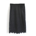 Plain Elastic Waist Lace Midi Wrap Skirt