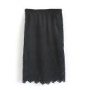 Plain Elastic Waist Lace Midi Wrap Skirt