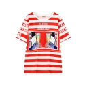 Cartoon Print Stripe Round Neck Short Sleeve T-Shirt