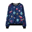Stylish Air Balloon Print Round Neck Long Sleeve Sweatshirt