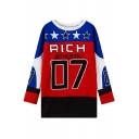 Color Block Stars and Letters Print Round Neck Long Sleeve Sweatshirt
