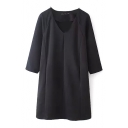 Black V-Neck 3/4 Length Sleeve Shift Dress