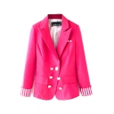 Lapel Plain Stripe Hem Long Sleeve Blazer