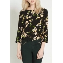 Floral Print Black Background Long Sleeve Button Back Blouses